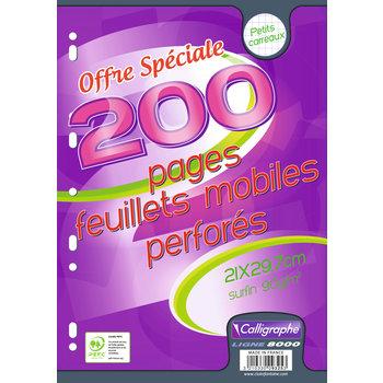 CALLIGRAPHE Feuillets mobiles perforés A4 200 pages petits carreaux