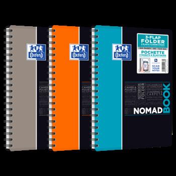 OXFORD Cahier Nomadbook Spirale - Polypro avec chemise intégrée - 160 pages 90 g - 176 x 250 mm - Petits carreaux