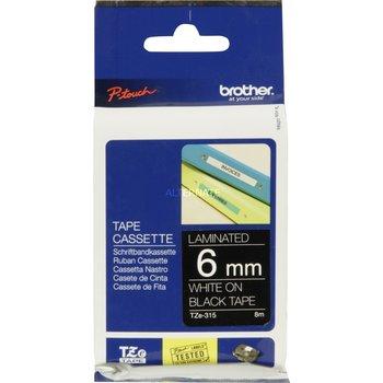 BROTHER Ruban d'étiquettes Brother TZE315 - 6 mm - Blanc sur noir