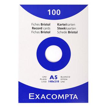 EXACOMPTA Étui de 100 fiches - bristol uni non perforé 148x210mm - Blanc