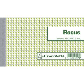 EXACOMPTA Manifolds Reçus 10,5x18cm - 50 feuillets dupli - Sous film par lot de 5