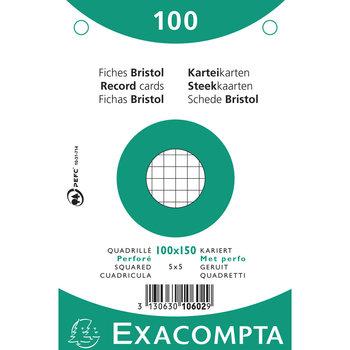 EXACOMPTA Étui 100 fiches sous film - bristol quadrillé 5x5 perforé 100x150mm - Blanc