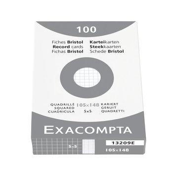 EXACOMPTA Étui de 100 fiches - bristol quadrillé 5x5 non perforé 105x148mm blanc