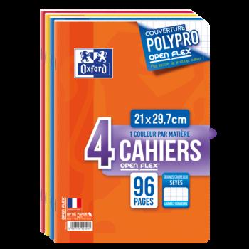 OXFORD Lot de 4 cahiers polypro - Format A4 ( 21 x 29.7 cm ) - Openflex - 96 pages - Grand carreaux