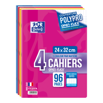 OXFORD 4 cahiers Open Flex - 24 x 32 cm - 96 PAGES 90g Seyes