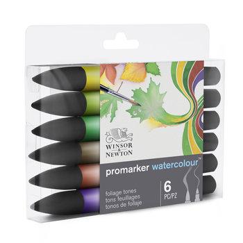 WINSOR & NEWTON Watercolour Marker Set De 6 Marqueurs Tons Feuillage