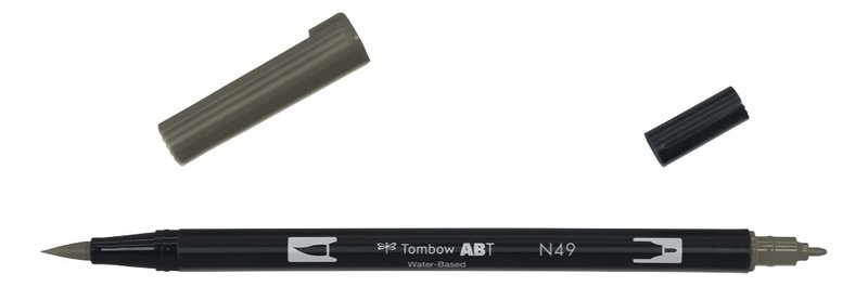 TOMBOW ABT-N49 Feutres pinceaux Dual Brush Pen, gris chaud