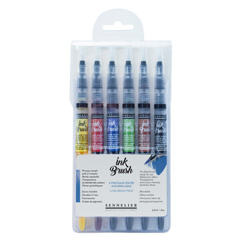 SENNELIER Pochette 6 pinceaux Ink Brush couleurs standards