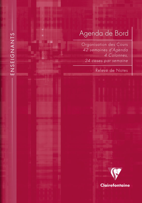 CLAIREFONTAINE Agenda de bord 4 colonnes (24 cases/semaine) rembordé rigide 21x29,7cm 144p