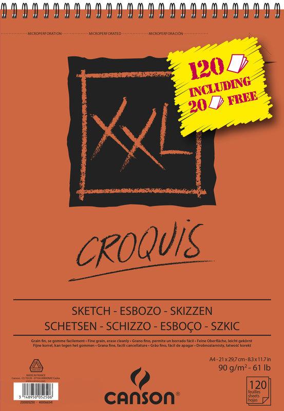 CANSON Album XL Croquis A4 90g 120 Feuilles dont 20 offertes