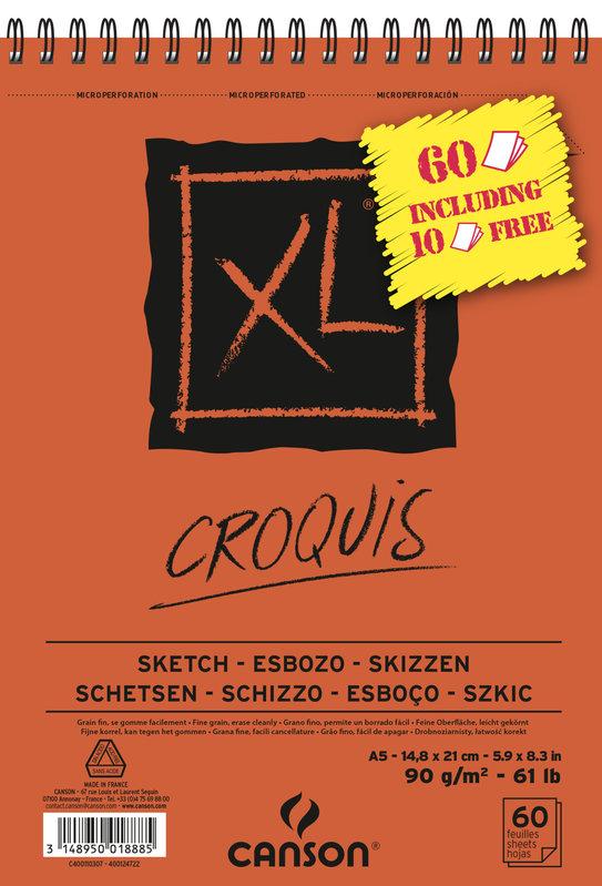 CANSON Album XL Croquis spirale A5 90g 60 feuilles dont 10 offertes