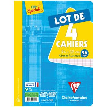 CLAIREFONTAINE Lot de 4 cahiers grands carreaux séyès - 24x32 cm - 96 pages