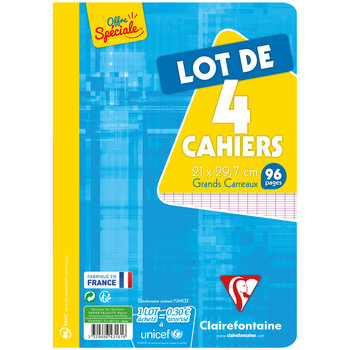 CLAIREFONTAINE Lot 4 cahiers grands carreaux A4 96 pages seyes 90g