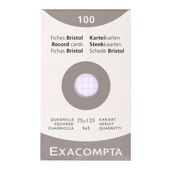 EXACOMPTA Étui de 100 fiches - bristol quadrillé 5x5 non perforé 75x125mm - Blanc