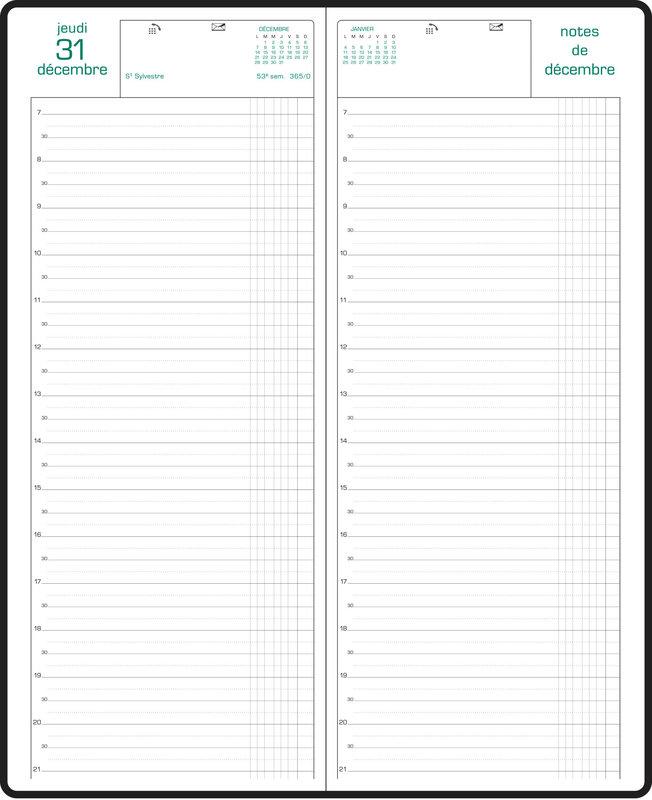 EXACOMPTA Agenda Civil Journalier bureau Euros/Cents avec heures 13,5x34cm long noir