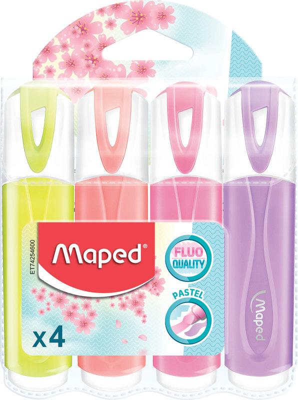 MAPED Pochette 4 surligneurs FLUO'PEPS Classic pastel modèles aléatoires