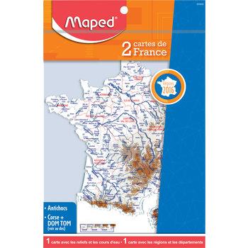 MAPED Pochette de 2 cartes de France : reliefs et fleuves / régions et départements 2016.  sachet brochable