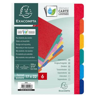 EXACOMPTA Intercalaires carte lustrée 225g - 6 positions - Format ecolier 17x22cm