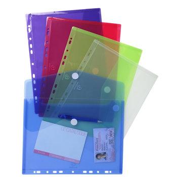 EXACOMPTA Sachet de 5 pochettes-enveloppes perforées polypropylène - A4 - Couleurs assorties