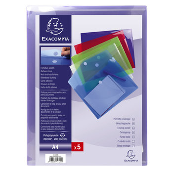 EXACOMPTA Sachet de 5 pochettes-enveloppes polypropylène - A4 - Couleurs assorties
