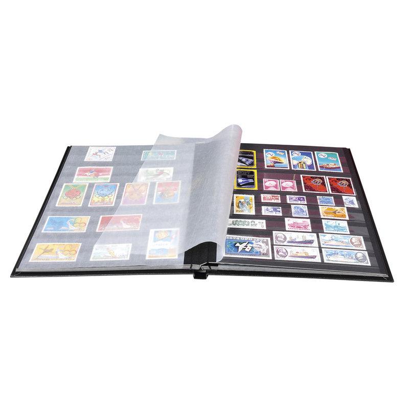 EXACOMPTA Album de timbres simili-cuir 64 pages noires - 22,5x30,5 cm - Noir