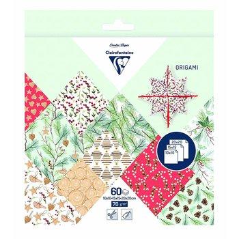 CLAIREFONTAINE Origami Pochette 60 feuilles 3 tailles - Noël végétal