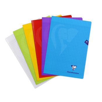 CLAIREFONTAINE Mimesys Cahier piqué grands carreaux ouverture polypropylène - 21x29,7cm - 96 pages - coloris assortis