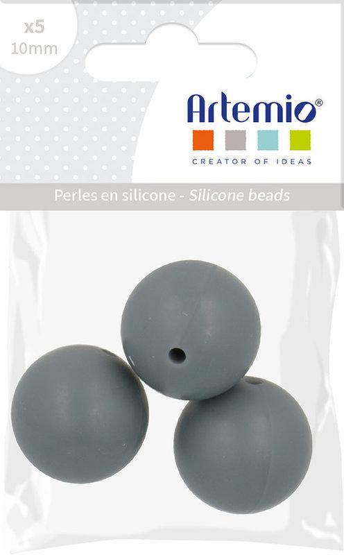 ARTEMIO 3X Perle Silicone Ronde 15Mm Gris