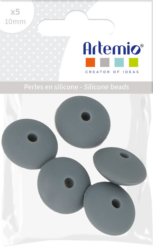 ARTEMIO 5X Perle Silicone Cabochon 12X7Mm Gris