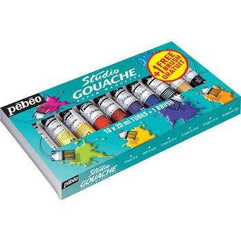 PEBEO Studio gouache 10x20ml + 1 pinceau gratuit