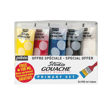 PEBEO Studio gouache set couleurs primaires 5x100 ml