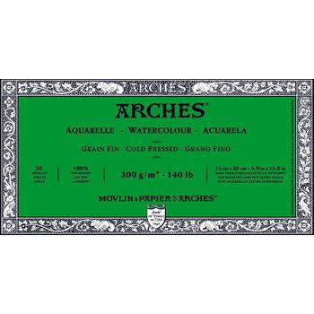 ARCHES ARCHES Aquarelle Bloc collé 4 cotés Grain Fin Blanc 20 Feuilles 300g 15x30cm
