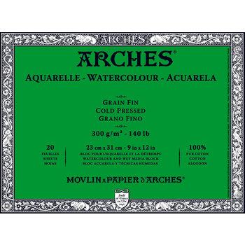 ARCHES ARCHES Aquarelle Bloc collé 4 cotés Grain Fin Blanc 20 Feuilles 300g 23x31cm