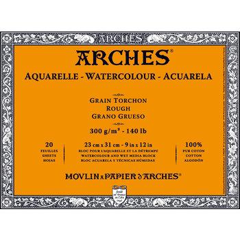 ARCHES ARCHES Aquarelle Bloc collé 4 cotés Grain Torchon Blanc 20 Feuilles 300g 23x31cm