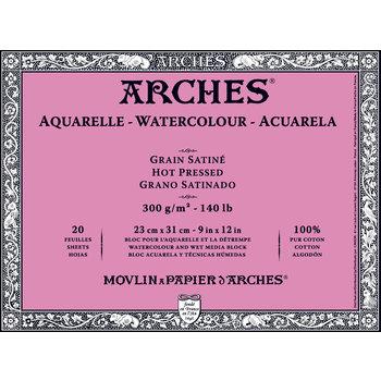 ARCHES ARCHES Aquarelle Bloc collé 4 cotés Grain Satiné Blanc 20 Feuilles 300g 23x31cm
