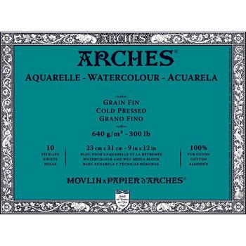 ARCHES ARCHES Aquarelle Bloc collé 4 cotés Grain fin Blanc 10 Feuilles 640g 23x31cm