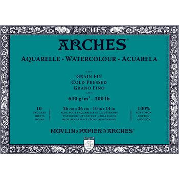 ARCHES ARCHES Aquarelle Bloc collé 4 cotés Grain Fin Blanc 10 Feuilles 640g 26x36cm