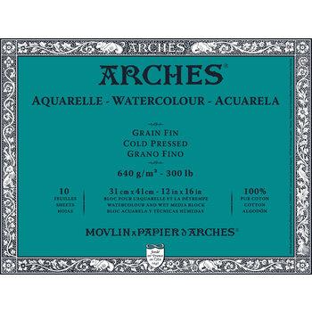 ARCHES ARCHES Aquarelle Bloc collé 4 cotés Grain Fin Blanc 10 Feuilles 640g 31x41cm