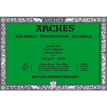 ARCHES ARCHES Aquarelle Bloc collé 4 cotés Grain Fin Blanc 20 Feuilles 300g 18x26cm