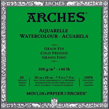 ARCHES ARCHES Aquarelle Bloc collé 4 cotés Grain Fin Blanc 20 Feuilles 300g 20x20cm
