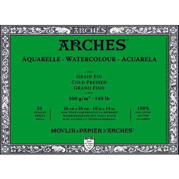 ARCHES ARCHES Aquarelle Bloc collé 4 cotés Grain Fin Blanc 20 Feuilles 300g 26x36cm