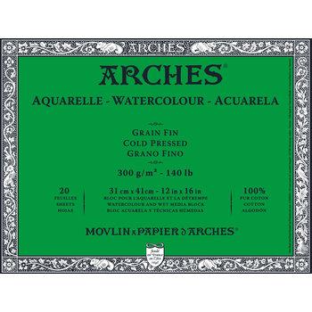 ARCHES ARCHES Aquarelle Bloc collé 4 cotés Grain Fin Blanc 20 Feuilles 300g 31x41cm