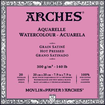 ARCHES ARCHES Aquarelle Bloc collé 4 cotés Satiné Blanc 20 Feuilles 300g 20x20cm