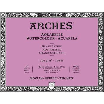ARCHES ARCHES Aquarelle Bloc collé 4 cotés Grain Satiné Blanc 20 Feuilles 300g 20x26cm