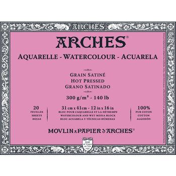 ARCHES ARCHES Aquarelle Bloc collé 4 cotés Grain Satiné Blanc 20 Feuilles 300g 31x41cm