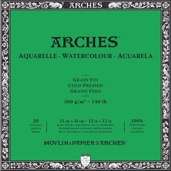 ARCHES ARCHES Aquarelle Bloc collé Grain Fin Blanc 20 Feuilles 300g 31x31cm
