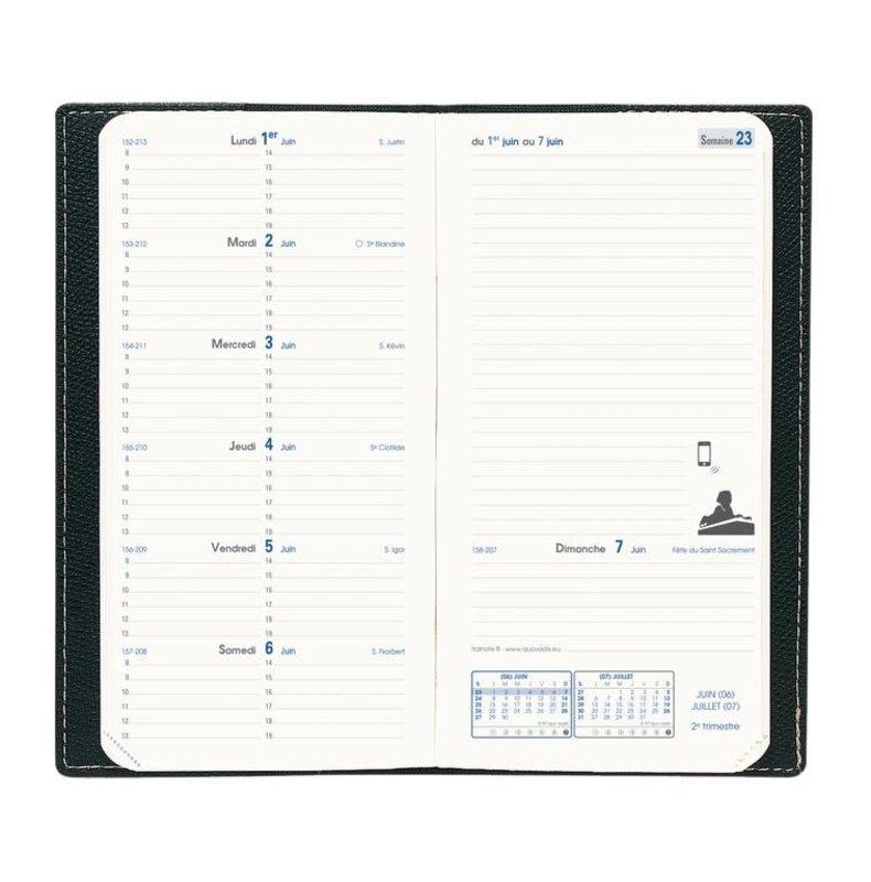 QUO VADIS Agenda Civil Italnote B Impala rep semainier 8,8x17cm couleurs aléatoires