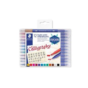 STAEDTLER STAEDTLER® Calligraph duo 3005 Design Journey - Set 12 feutres de calligraphie assortis double pointe biseautée 2 mm et 3,5 mm