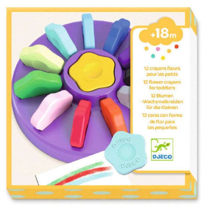 DJECO Les couleurs - Pour les petits 12 crayons fleurs