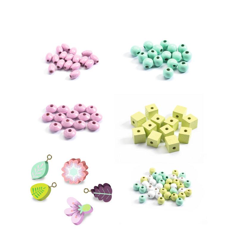 DJECO Perles et bijoux Perles bois - Feuilles et fleurs